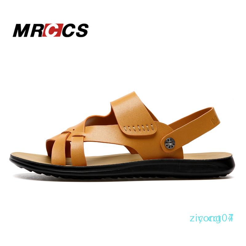 MRCCS New Rome Style Light Weight Sandals,Men Summer Daily Beach Shoes,Male Solid Color Leisure Slipper z07