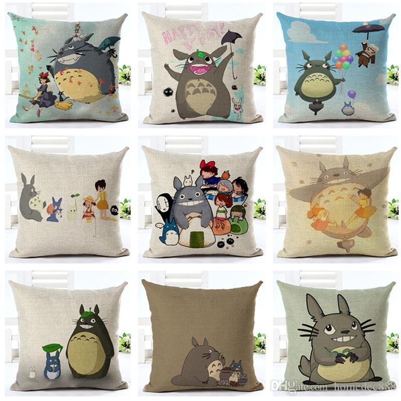 Decoración para el hogar 18 pulgadas Sofá casero Funda de almohada Funda de almohada de lino Silla Sofá Funda de cojín Totoro de dibujos animados Impreso Funda de almohada DH0877