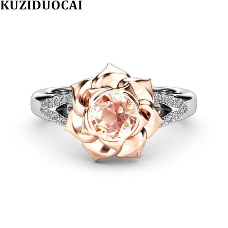 Kuziduocai neue Art und Weise Schmuck Mosaik Dazzling Zircon-Rosen-Blumen-Edelstahl-Hochzeits-Braut-Ring für Frauen Anillos R-961