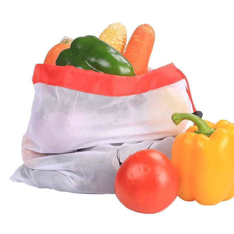 3 размера многоразовая сетчатая хозяйственная сумка моющиеся экологически чистые сумки для продуктового мешка держатель фруктовый овощной мешок для хранения сумки 50 шт. DHL бесплатно