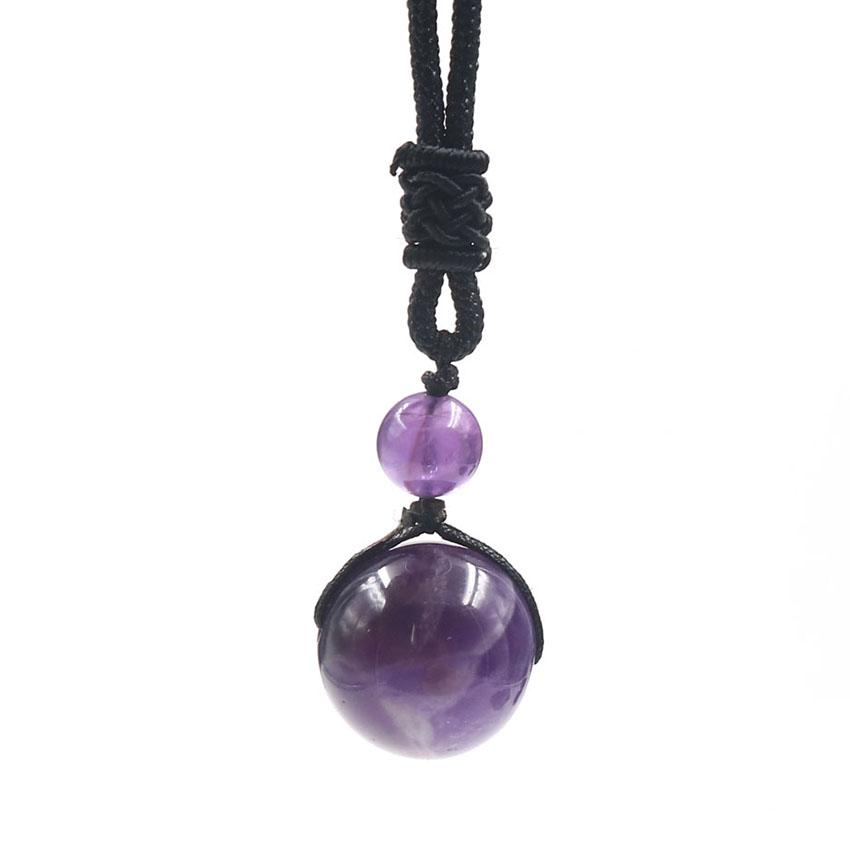 Wholesale 10 pcs Handmade Weave Round Beads Amethyst Stone Pendant Rope Chain Necklace Ethnic Style Jewelr