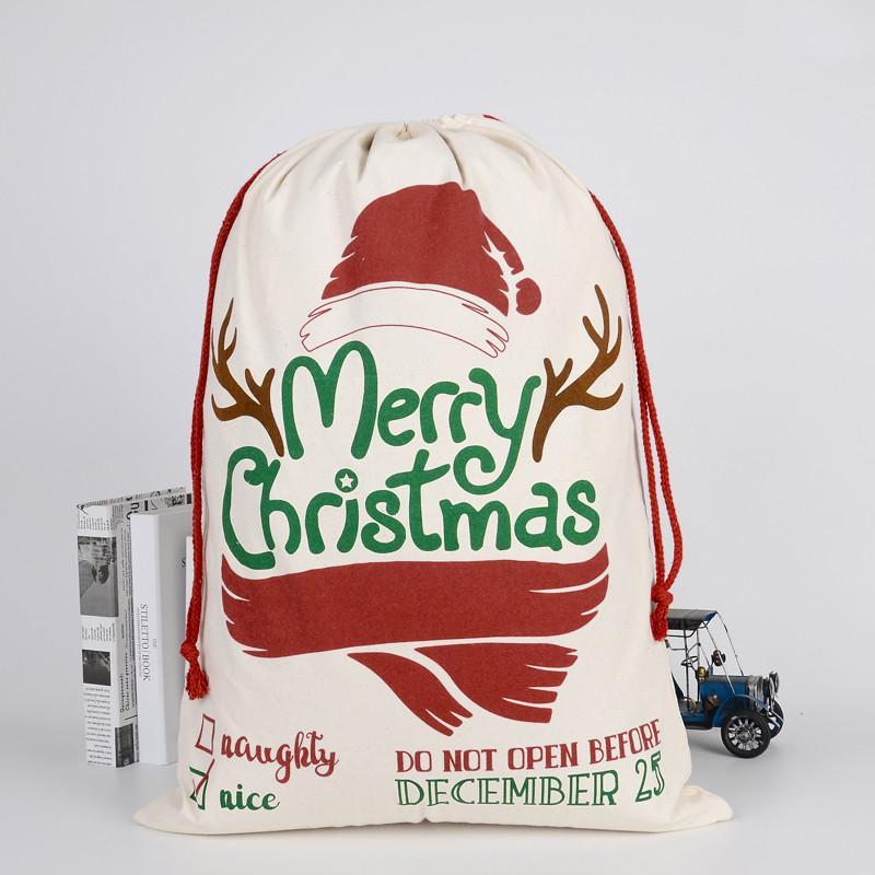 10 # 2020 bolsa de almacenamiento Nueva lona grande Feliz Navidad de Santa Sacks media de Navidad del reno del regalo de Navidad Decoración para el hogar