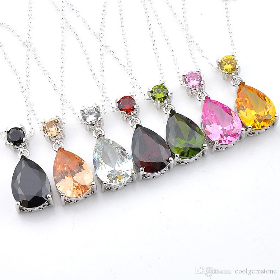 Half Dozen 12 PCS/Lot Mix Color Water Drop Crystal Peridot Morganite Gemstone Silver Woman Necklace Pendant Wedding Pendant Jewelry