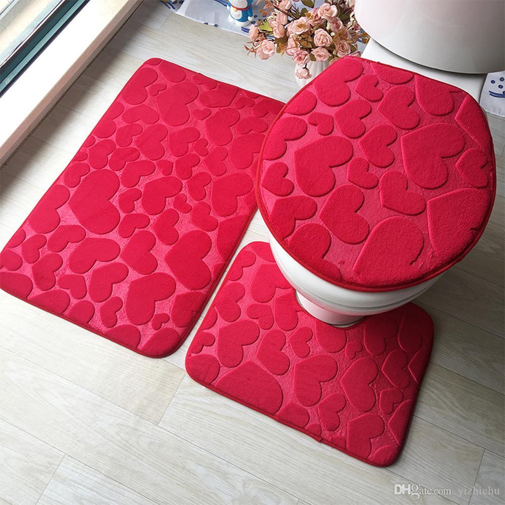 조약돌 플란넬 양각 카펫 욕실 러그 화장실 매트 세트 3 조각 메모리 폼 여분의 부드러운 샤워 목욕 양탄자 - 윤곽선 매트와 뚜껑 커버