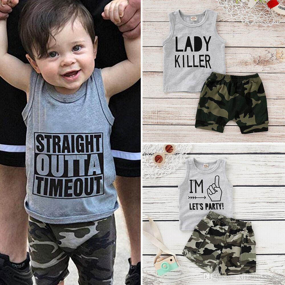 Camouflage Short Pants Outfits UK Infant Baby Boy Letter Print Vest Tank Top