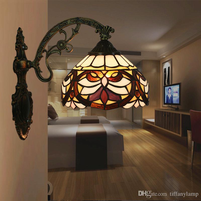 Großhandel Tiffany Wohnzimmer Schlafzimmer Wandleuchte Restaurant Gang  Balkon Nacht LED Spiegel Licht American Style Barock Vintage Badezimmer  Lampe ...