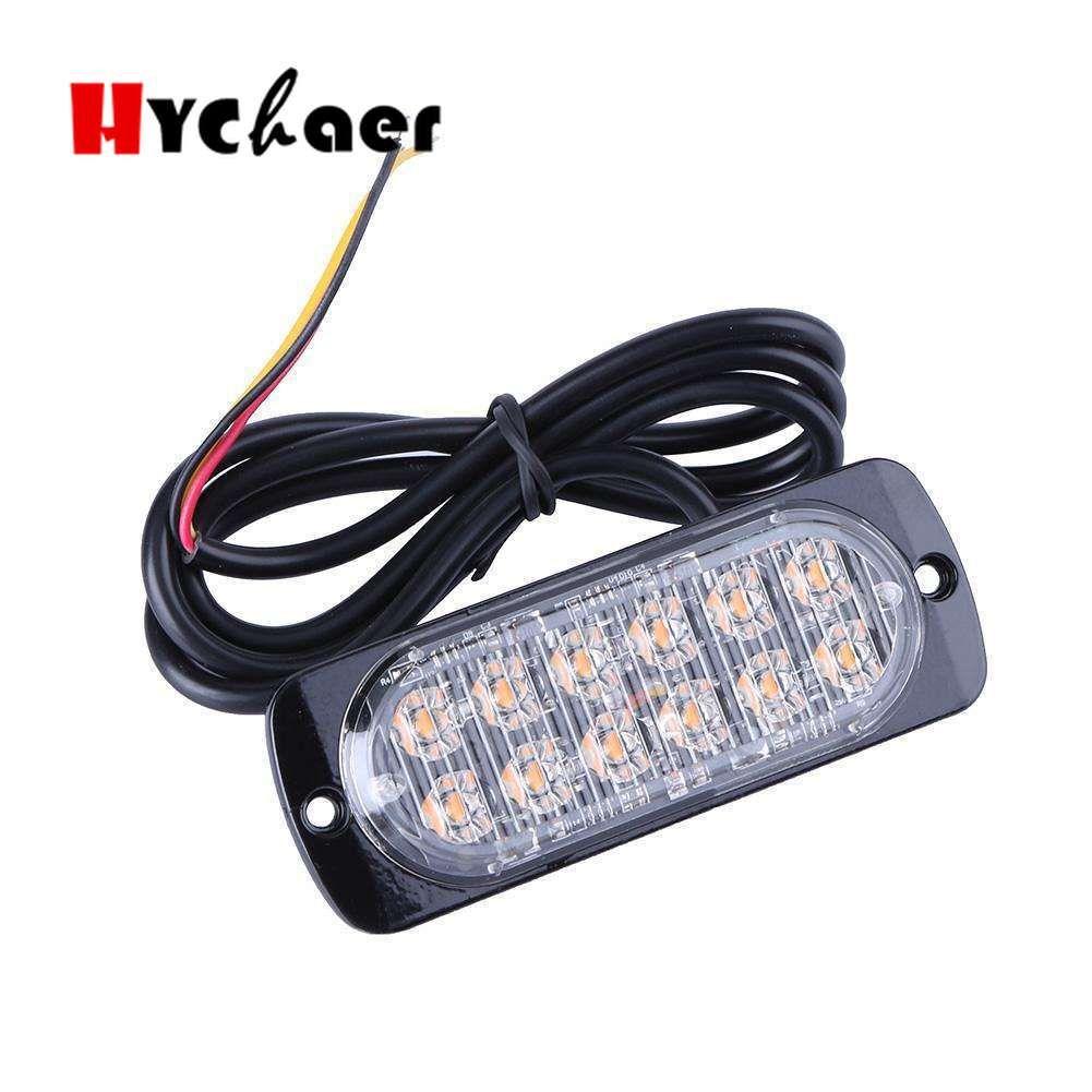4PC 초박형 LED 높은 전력 12W 조명 12V-24V 12 LED 차 트럭 비상 사이드 스트로브 경고등 자동차 스타일링
