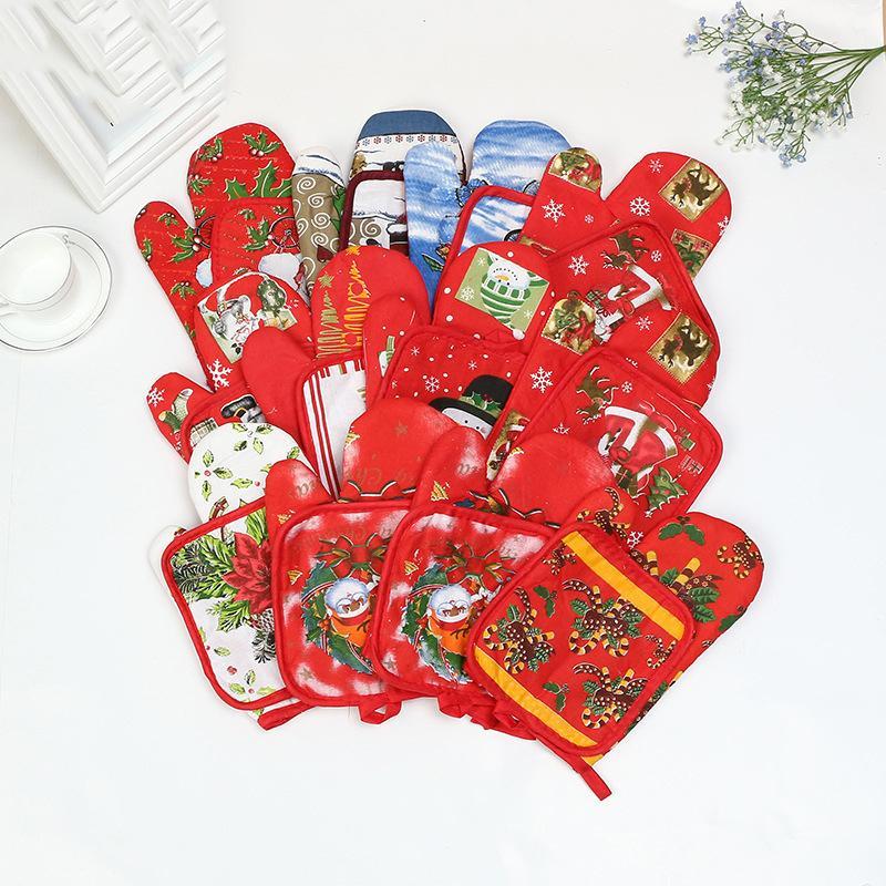 2шт / компл Рождество Микроволновая печь Анти-ошпарить перчатки Кухонный стол Мат барбекю печь испечь Xmas перчатки моды Санта перчатки Pad партии питания DBC VT0375