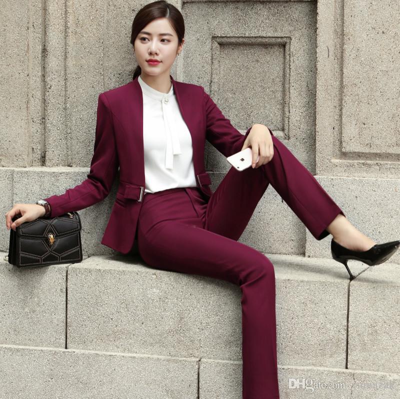 New Formal Office Women Suits Blazers Uniform Elegant Garnitur Damski Ensemble Femme 2 Pieces Pantalon Pant Suits Beige