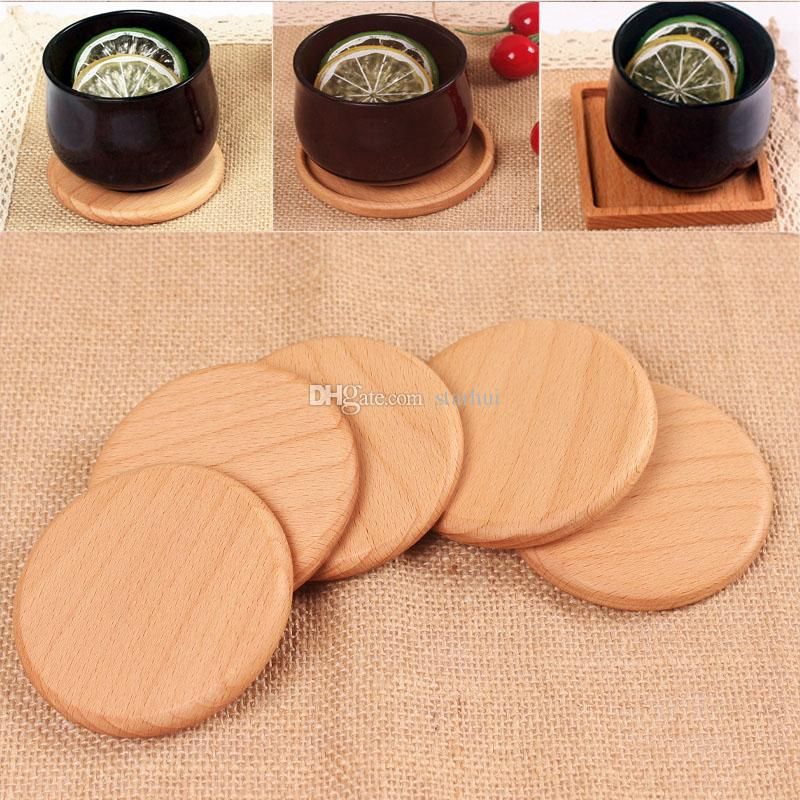 Solid Wood Coasters Coffee Tea Cup Pads Insulated Drinking Mats Teapot Table Mats home desk Mats Decoration DHL WX9-1485