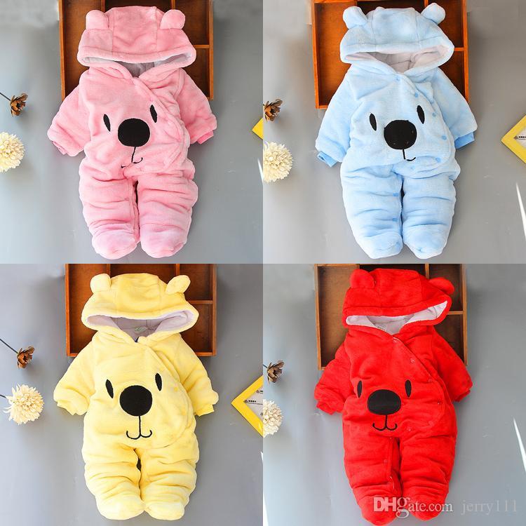 طفل السروال القصير 4 ألوان الرضع الملابس صبي مصمم لحديثي الولادة طفلة ملابس الخريف شتاء بنات Snowsuits حللا JY984