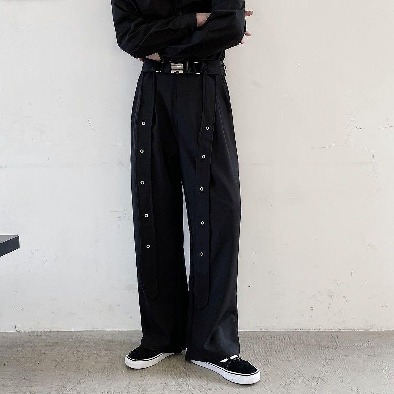 EWQ / nichos de llevar pantalones negros de los hombres para la nueva cinta masculina de la personalidad del verano del resorte 2020 pantalones rectos flojos de pierna ancha 9Y1619