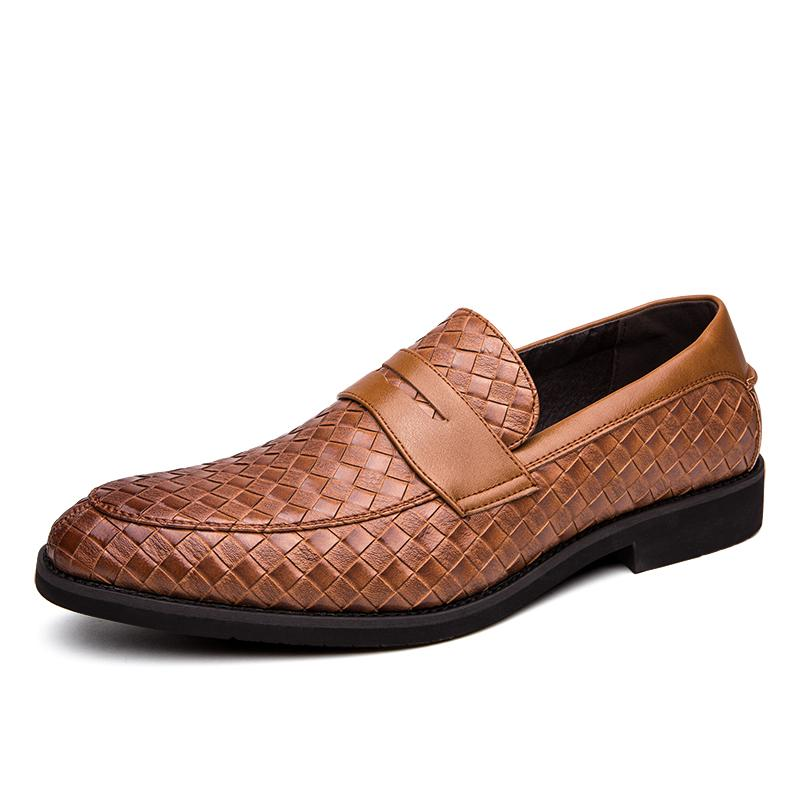 2020 Chaussures Hommes Marque Braid Oxfords Driving Casual Cuir Chaussures Homme Mocassins Mocassins Chaussures pour hommes italiens Flats