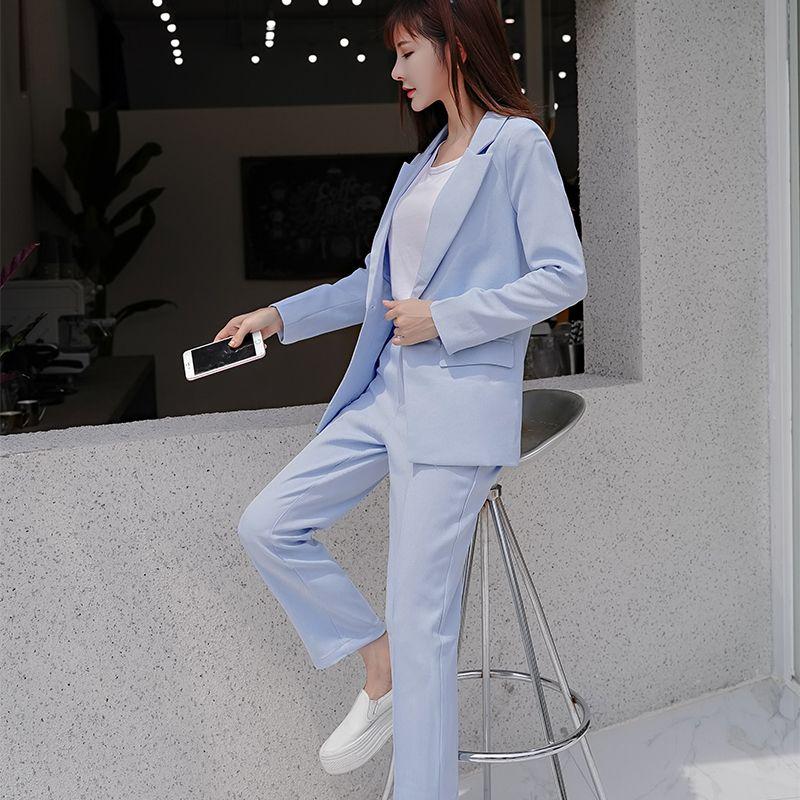 mujer de los trajes conjunto 2 piezas pantalones salvajes Slim temperamento pequeña chaqueta del juego de las mujeres de otoño nuevas mujeres traje de alta calidad
