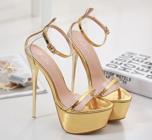 Sıcak Sale-16cm Seksi gelin düğün ayakkabı altın topuklu kadın tasarımcı yüksek topuk sandalet ayakkabı balo gowmn elbise ayakkabı boyutu 34 ila 40