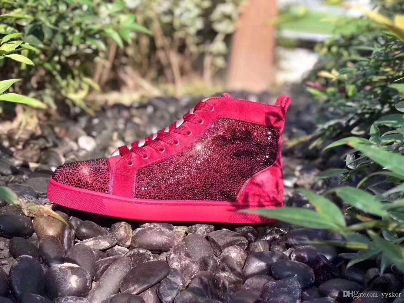 Erkekler Kadınlar İçin En Kalite Tasarımcı Kırmızı Bottoms spor ayakkabısı süet Glitter Flats Genç Ayakkabı Tasarımcısı Lüks eğlence eğitmen ayakkabı