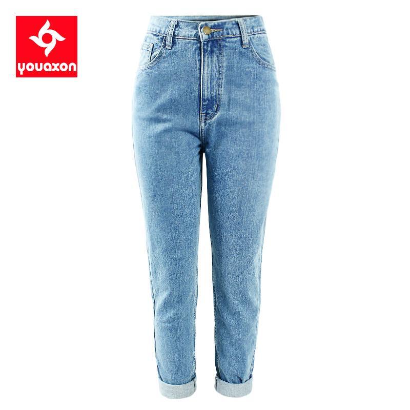 1886 Youaxon% 100 Pamuk Vintage Yüksek Bel Anne Kot Women`s Mavi Siyah Kot Pantolon Erkek arkadaşı Jean Femme İçin Kadınlar Jeans T191231