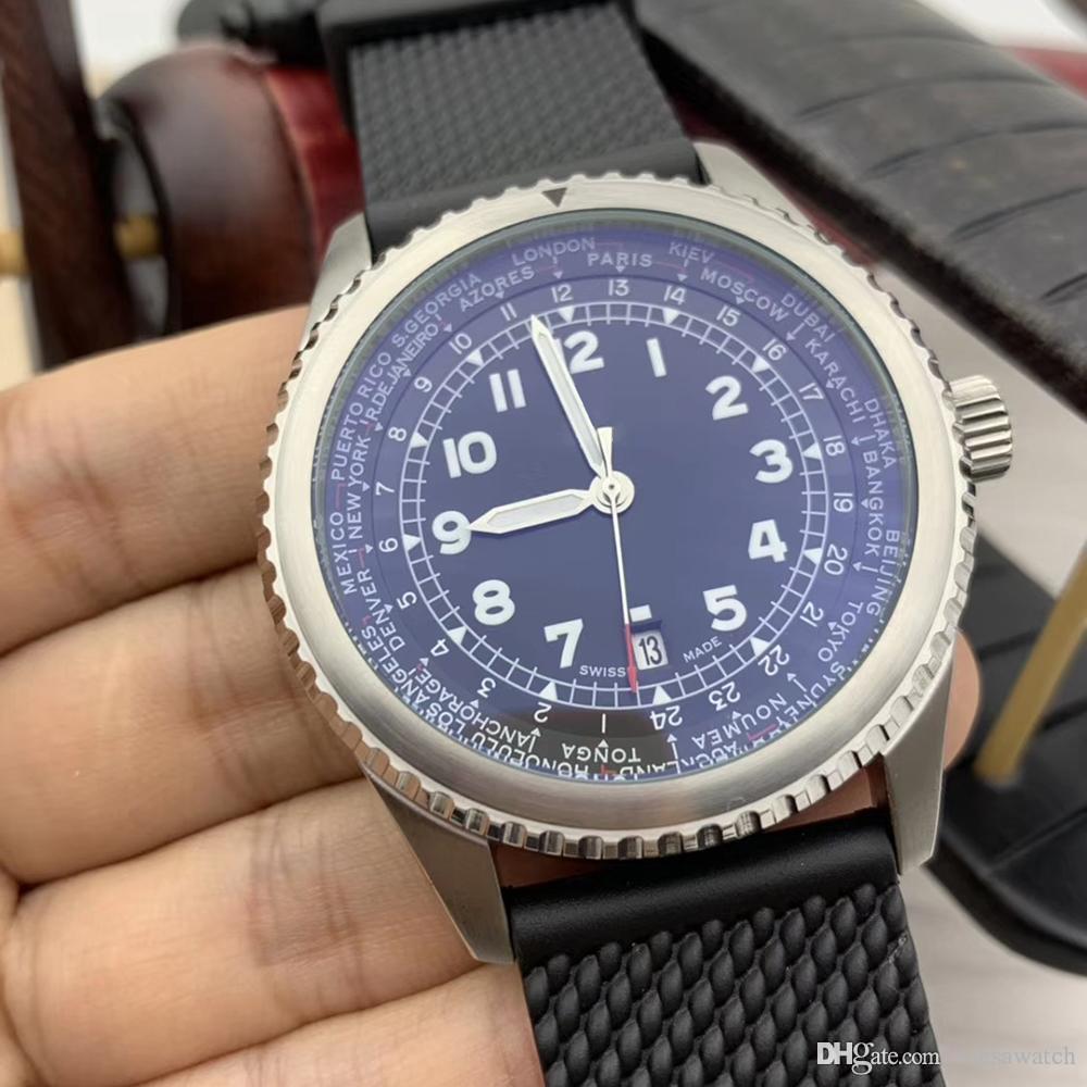 Navitimer 8 Unitime Voyager Hommes Montres Mouvement automatique lumineux Plein cadran noir 46MM Date de Black Watch caoutchouc Montres-bracelets