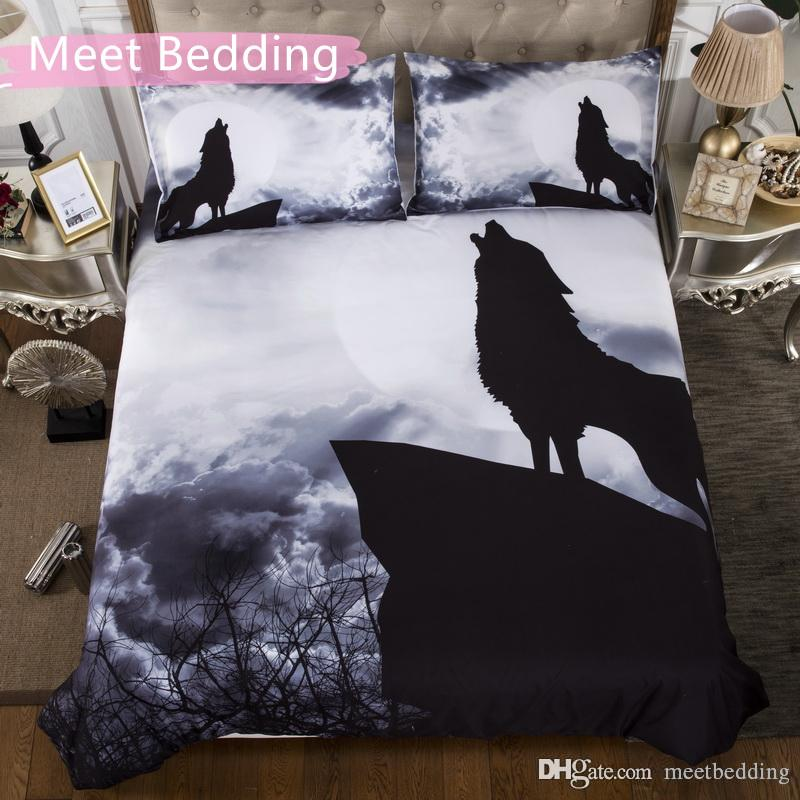 Animal series Bedding Set Twin Full Queen Size 2/3pcs Duvet Cover Set with wolf watching moon for Home Textile of Bedclothes