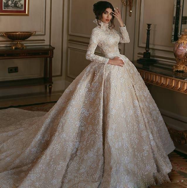 Vestido de bola elegante de la boda vestidos de manga larga del Rhinestone de las lentejuelas apliques de raso de novia Vestidos de cuello alto barrer de tren Vestidos de novia
