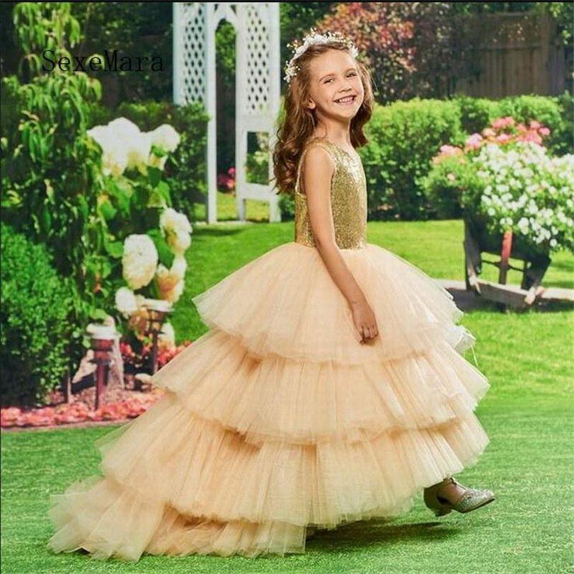 I più nuovi d'oro paillettes Flower Girl Dress con buco della serratura indietro maniche in tulle principessa vestito a file su misura per 2-14 anni Ragazze