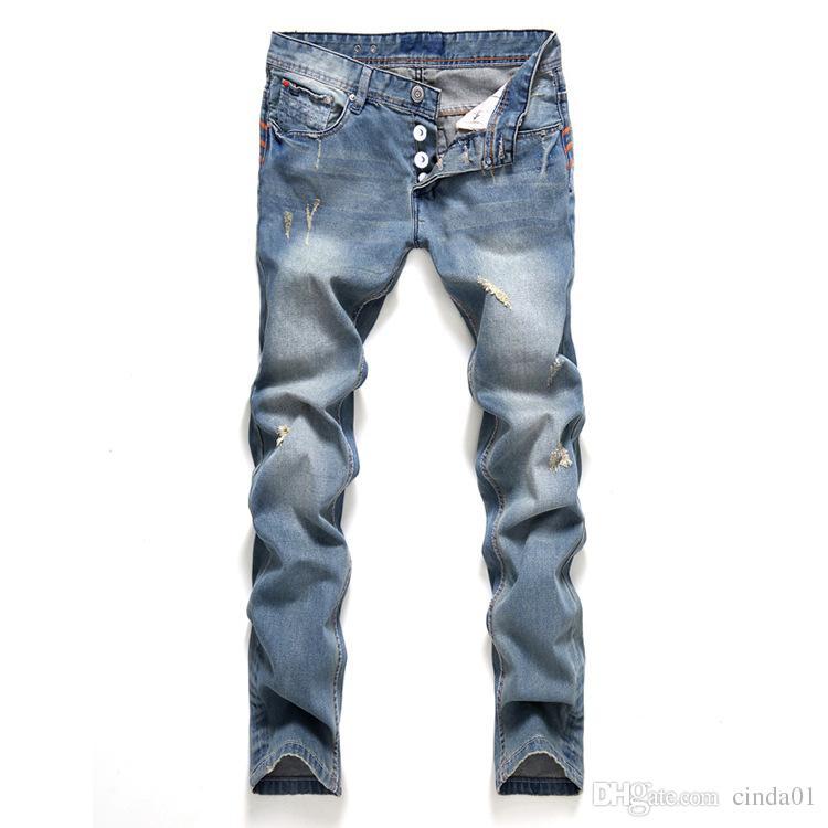 2019 Slim Fit Printemps Nouveau Jeans Bouton Style Droit Homme Pantalon Déchiré À La Mode Pour Hommes Vêtements Vêtements