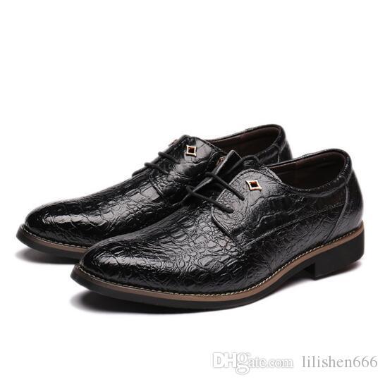 zapatos de cuero de los hombres del diseñador de moda de lujo zapatos de vestir de los hombres señalaron los zapatos de cuero ocasionales de los hombres del patrón del cocodrilo
