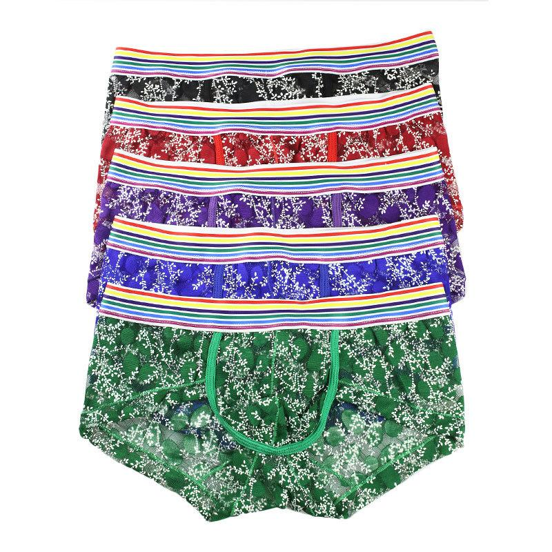 2XL Gay Boxer Shorts Lace Transparent Sheer Underwear Fishnet Boxershorts Sexy Printed Men Panties Ropa Interior Hombre Tanga