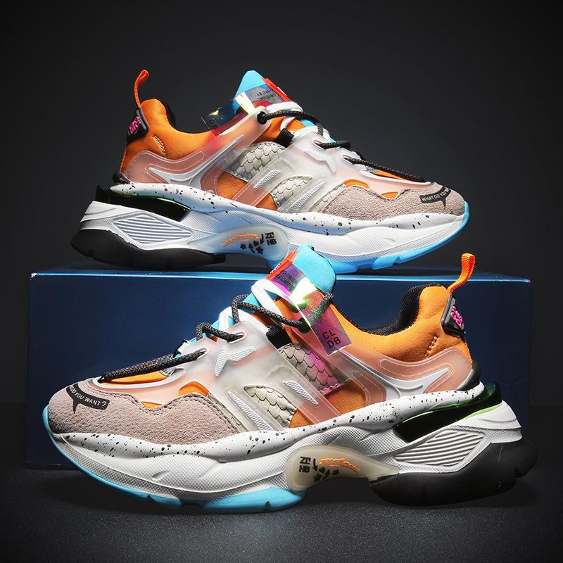 Ambientazione esterna Papà scarpa maschile 2019 Autunno Trend Maschile scarpe flangia Aumentare Tempo libero Sneakers Scarpe Uomo