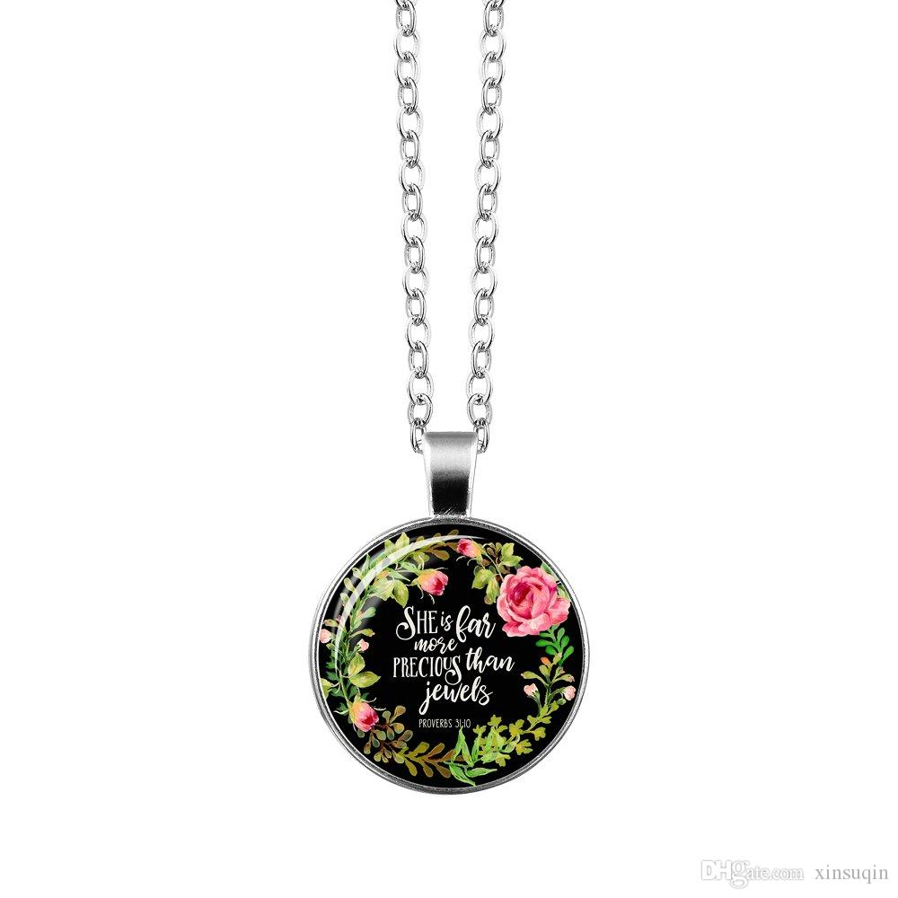Vogue Silver Christian Bible Necklace Charms Bible Psalm Glass Flower Picture Pendant Women Celebrity Quotes Jewelry