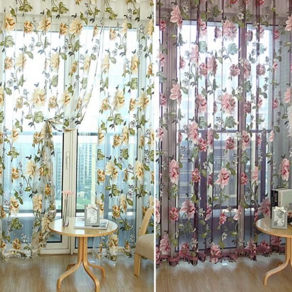 200 * 100см панели цветок печатных роскошных прозрачных штор пряжи тюль занавес окна дверной скрининг для гостиной домашний декор драпов