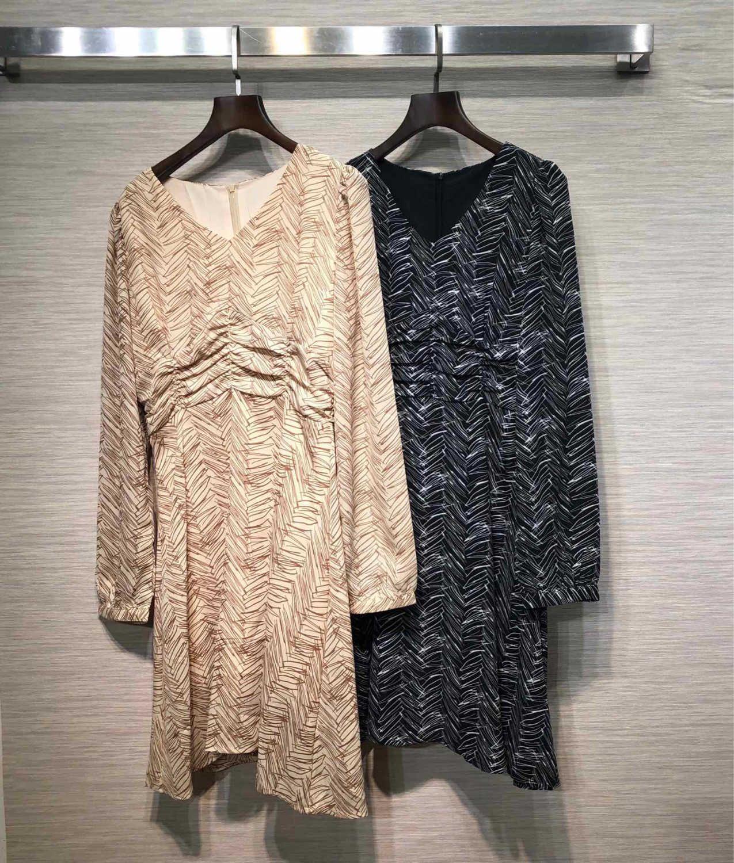 vestito da stampa stile retrò cinghia estate vestito piccolo scollo a V abito di moda casual vestito delle donne 2019