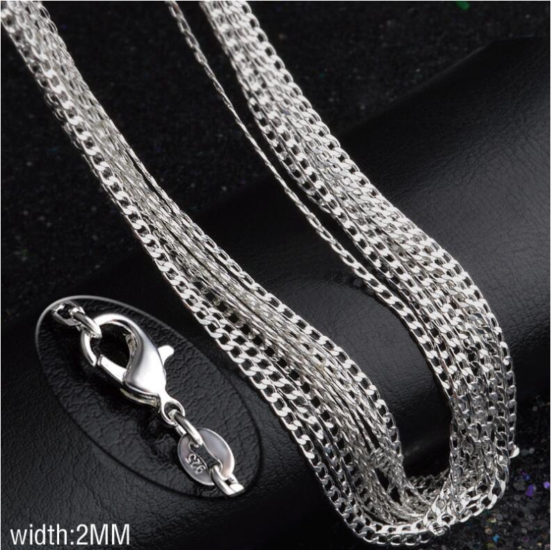 925 Sterling Silver Plated 2MM sideways chain women Lobster Clasps Smooth Chain Statement Jewelry Size 16 18 20 22 24 26 inches EC15