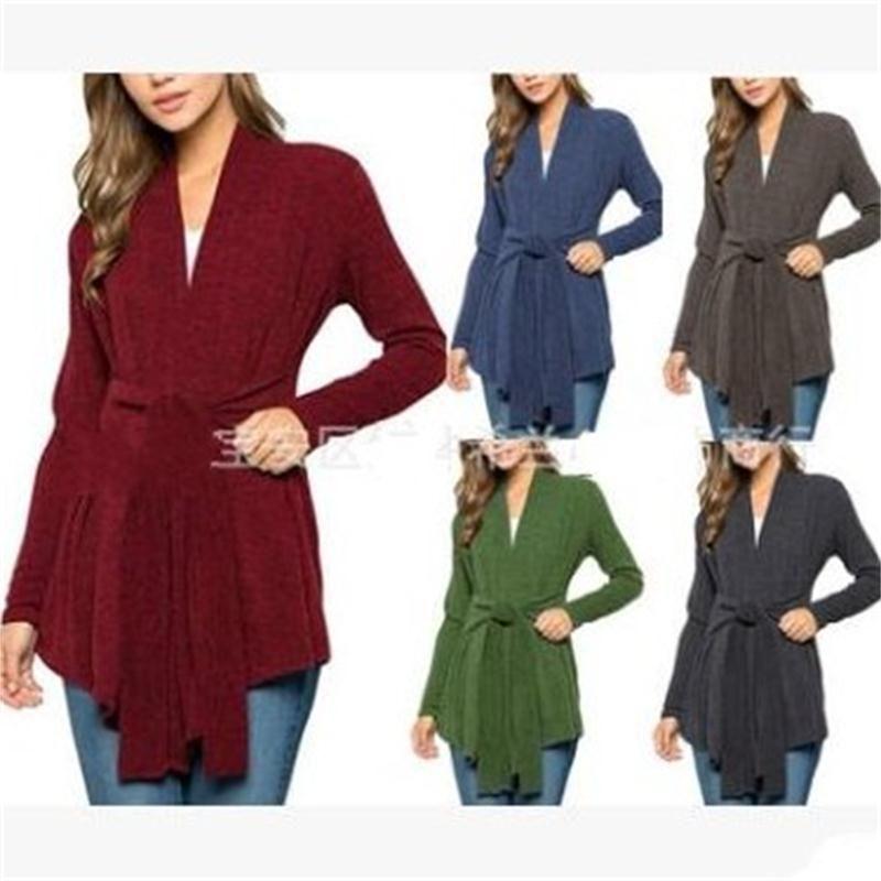 Бандаж Джемпер с длинными рукавами Вязание Топы пальто отдыха Одежда Lady Осень Зима Главная Открытый Apparel Мода 28xl H1