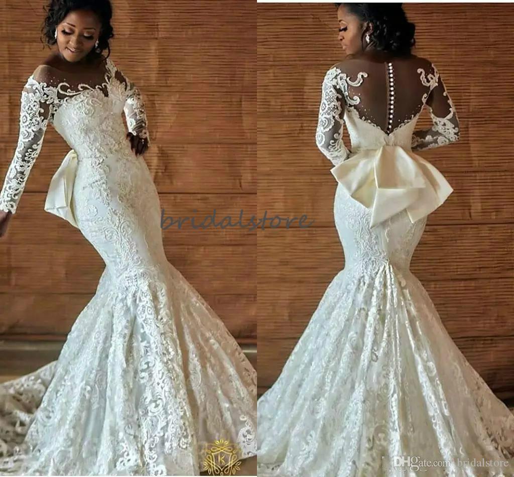 Bohemian afrikanische Nigerian Brautkleider Mermaid volle Spitze Plus Size Land Brautkleider lange Hülse Trompete wulstige Brautkleid 2020
