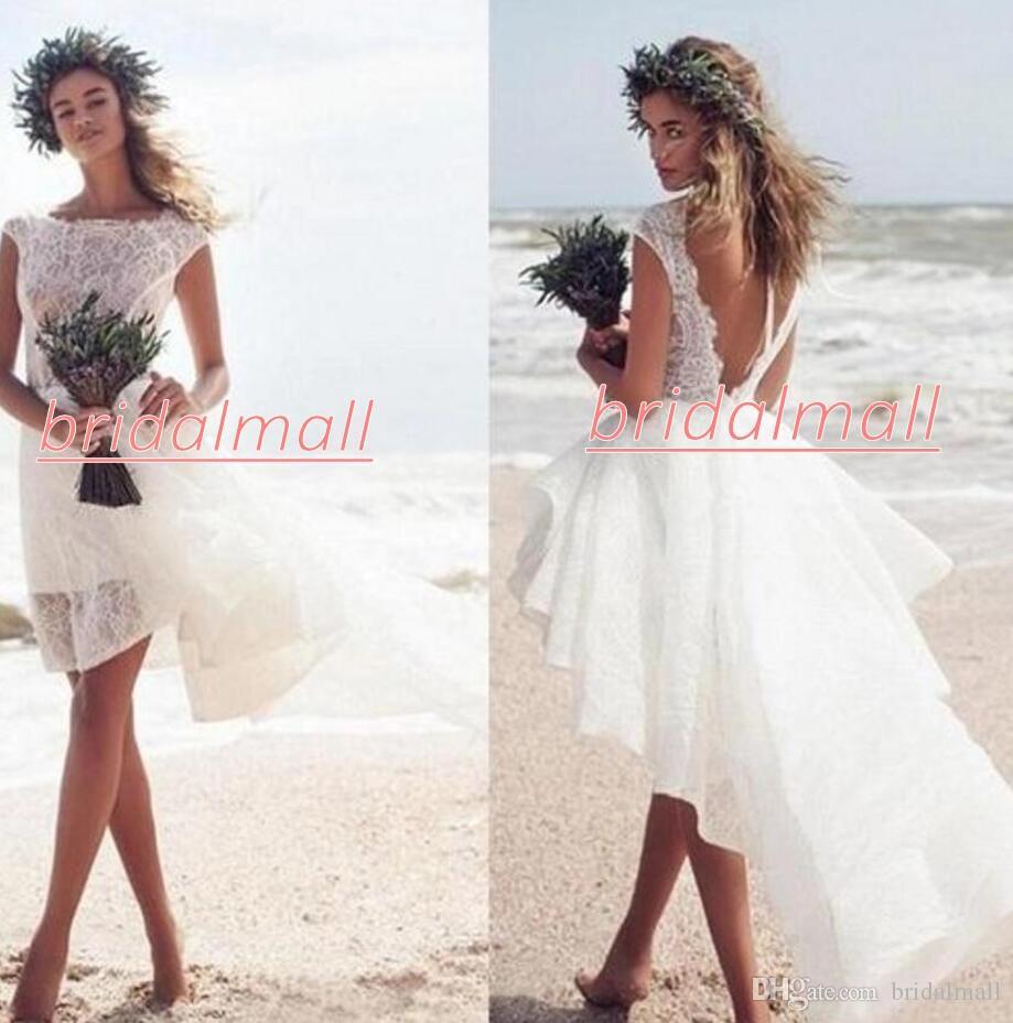 Bohemian 2020 White Lace High Low Wedding Dresses Ruffles Peplum Backless Beach Boho Bridal Gowns Custom Short Wedding Gowns Robe de mariée