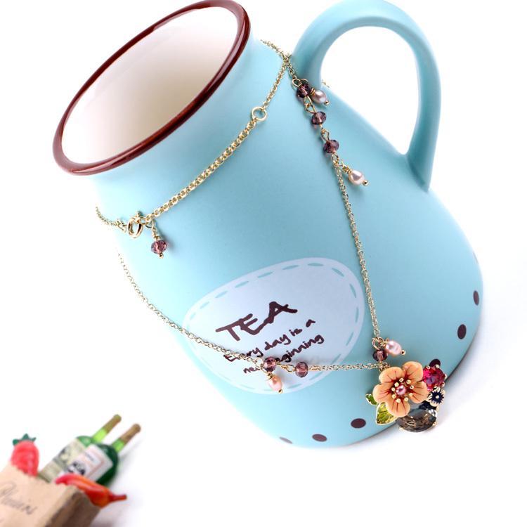 Cadeia moda- ouro verão Cor Doce Design Presente para o amigo Simples Cristal Colar da flor Presente de Natal Pingentes