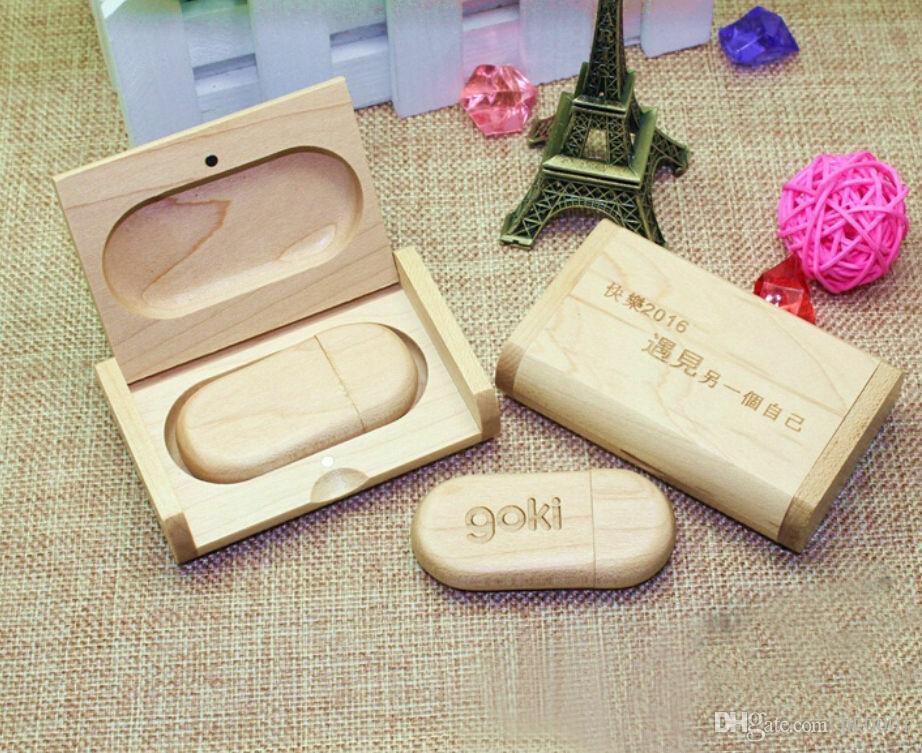 Pebble Wood Customized Logo USB 2.0 Flash Drive Memory 4 8GB 16g 32g Wedding Photography