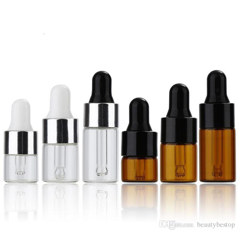 1 ml 2ml 3 ml Mini-Glas-Dropper-Flasche klar Bernstein Kleine Glas-Probe-Flaschen mit schwarzer Silberkappe für Parfüm-Kosmetik-E-Flüssigkeit