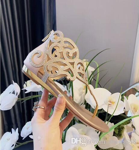 2019 Kadın Sandalet Kadın Ayakkabı Rhinestones Gladyatör Düz Sandalet Kristal Shoes Artı Boyutu 41 tenis feminino Çevirme