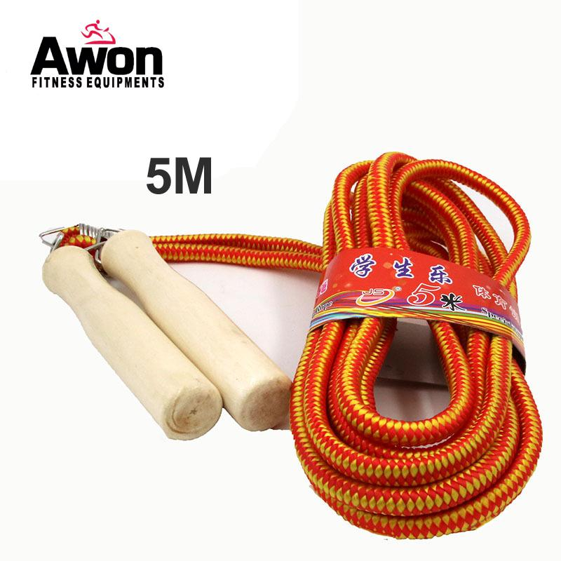 Group Skip Rope 5M Jumping Rope Outdoor Sports Long Skip Men Women Crossfit Fitness Equipment Wooden Handle Weavon FN