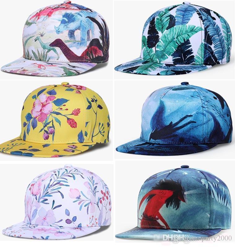 Mode Erwachsener Kind Hut Caps 3D Grüne Blumen Tiere Abstrakt Print Teenager Kinder Baseballmütze Unisex Hüte