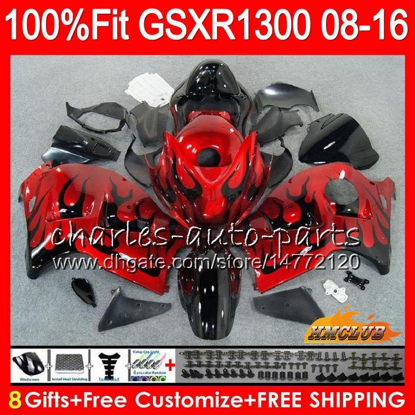 Injection For SUZUKI Red & flames Hayabusa GSXR1300 08 18 GSXR 1300 25HC.210 GSXR-1300 2008 2009 2010 2011 2012 2013 2014 2015 2016 Fairing