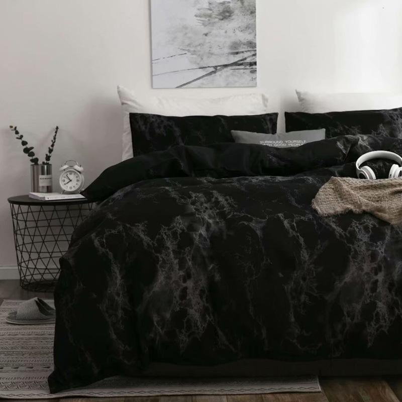 Marble Luxury Пододеяльник Россия Euro Queen Double King Size пододеяльник Set 2 / 6PCS Семейный Черный Кровать Нет Наполнитель Домашний текстиль
