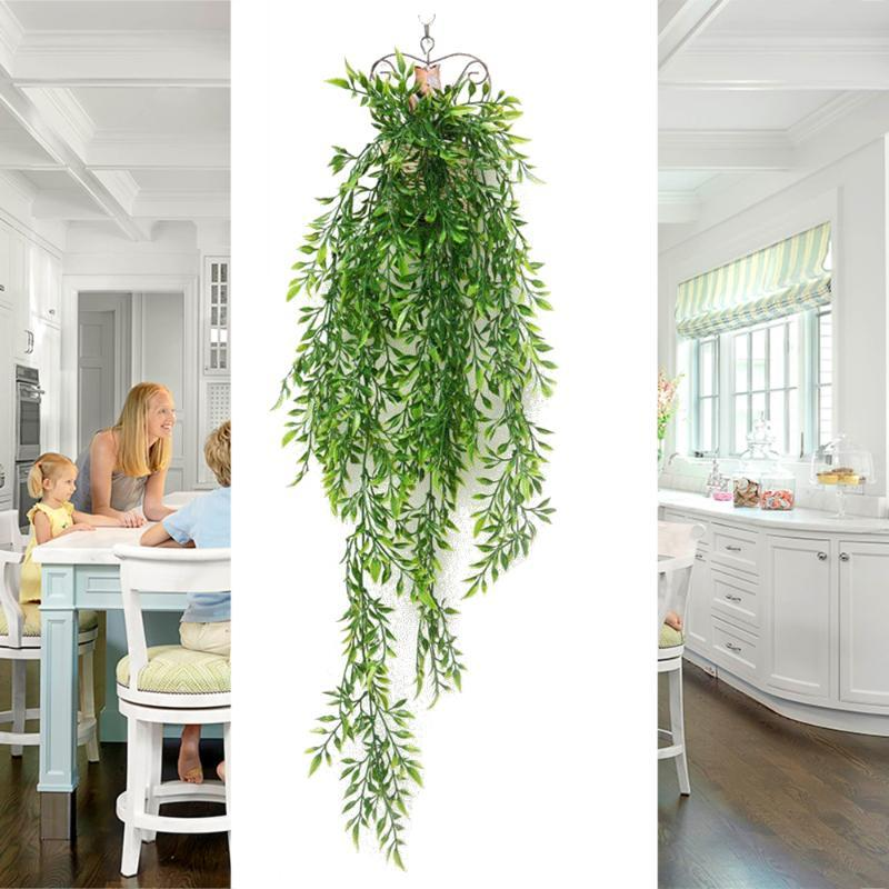 Green Plant Decor Green Silk Artificial Hanging Plants Ivy Leaf Garland Fake Vine Leaves For Home Garden Wall Wedding Decoration