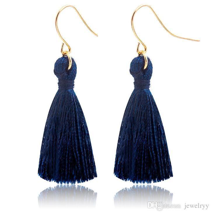 Zafiro Azul Moda Dulce Borlas Pendiente Moda Golden Fish Ear Hook Antique Dangle Chandelier Mujeres Colgante Pendientes Joyería Del Partido Regalo