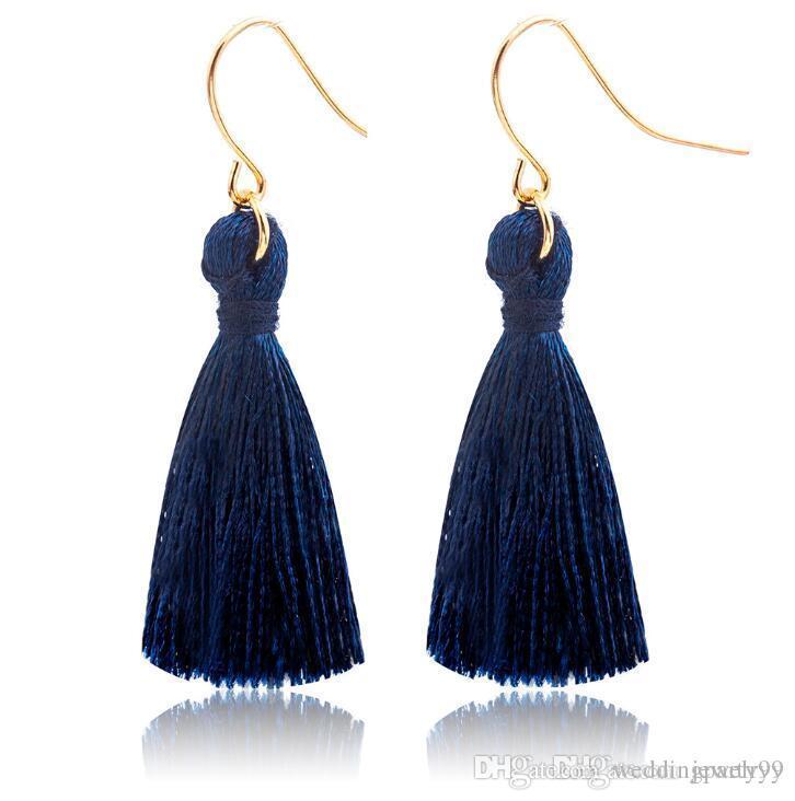 Saphirblau Mode Süße Quasten Ohrring Mode Golden Fish Ohrbügel Antike Baumeln Kronleuchter Frauen Anhänger Ohrringe Partei Schmuck Geschenk