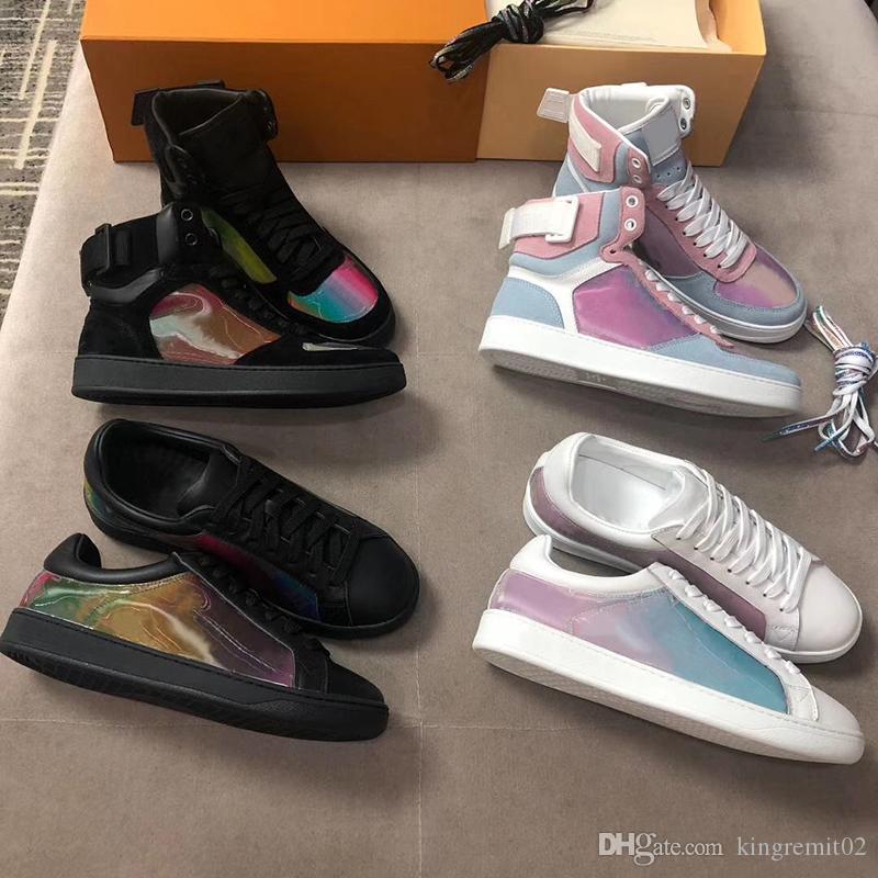 الرجال والنساء جلد العجل أعلى ارتفاع مصمم أحذية رياضية فاخرة ريفولي التمهيد حذاء رياضة قوس قزح مدرب لزهرة الزخارف خمر المدربين 12 الألوان