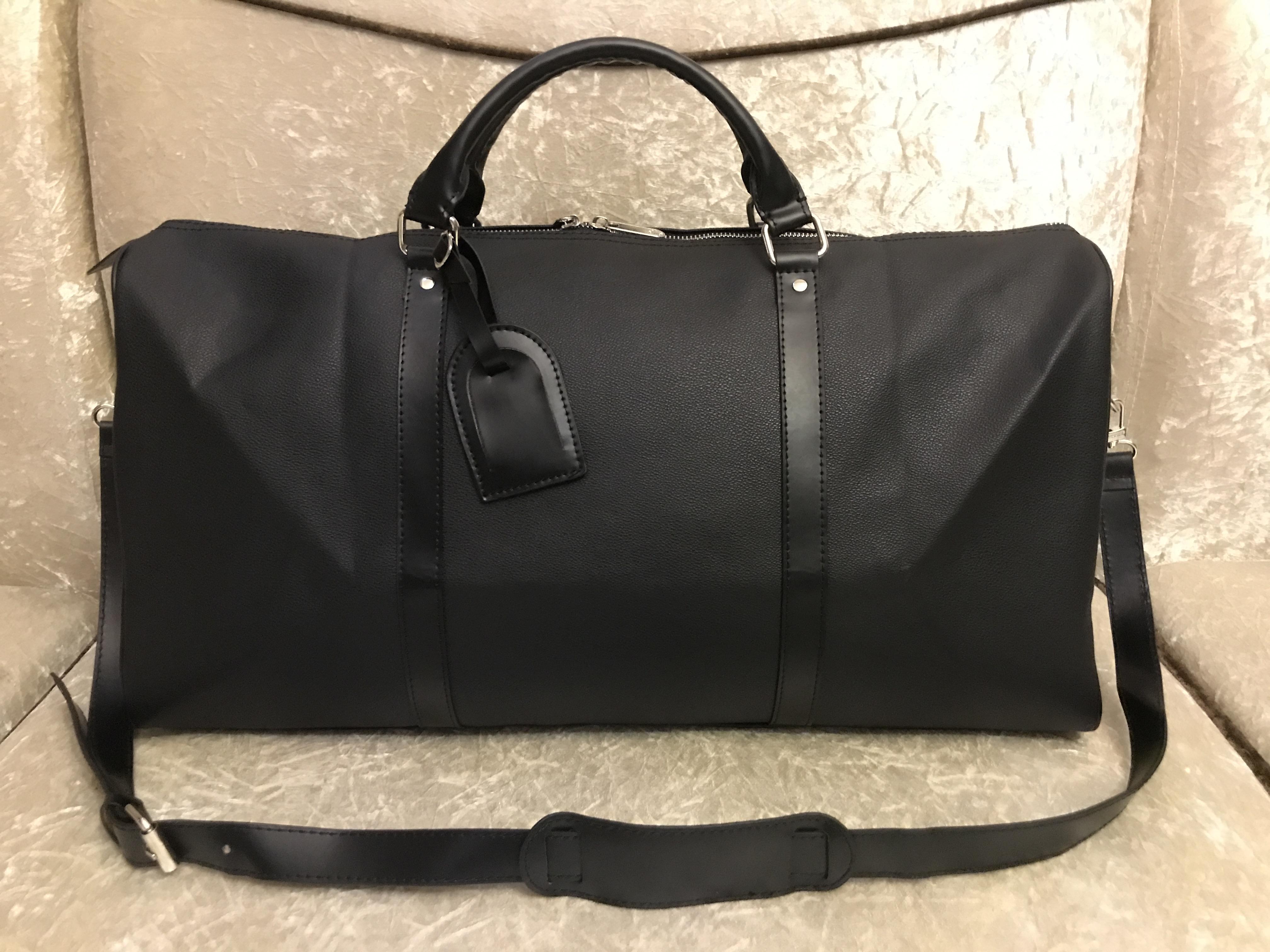 2020 hombres bolsa de lona mujeres viajan bolsas de equipaje de mano bolsa de viaje de diseño de lujo de los hombres de la PU de los bolsos de cuero de gran bandolera bolsas de 55cm