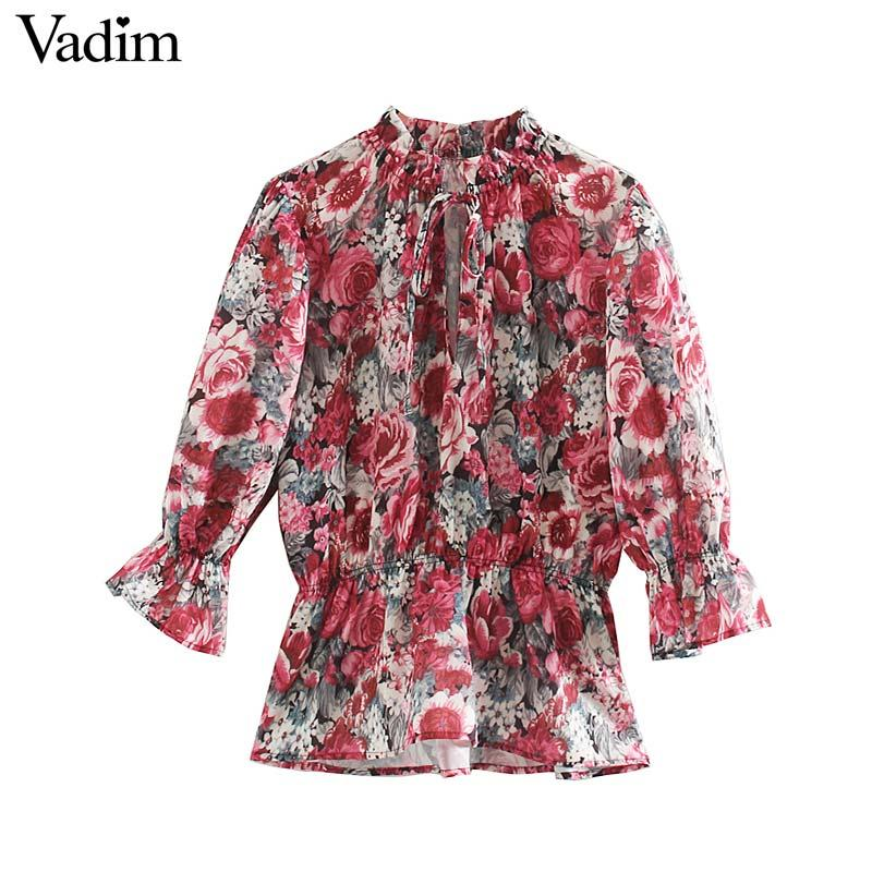 Vadim donne chic sovradimensionato camicia manicotto del chiarore coulisse cravatta modello camicetta floreale femminile alla moda casuale parti superiori allentate Blusas LB660
